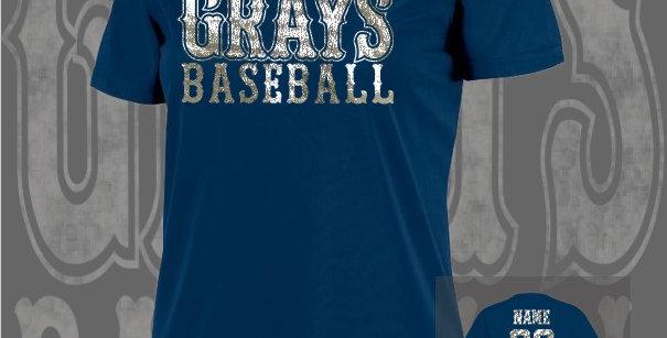 Gray's Baseball Foil Ladies Dry-Fit Navy V-Neck