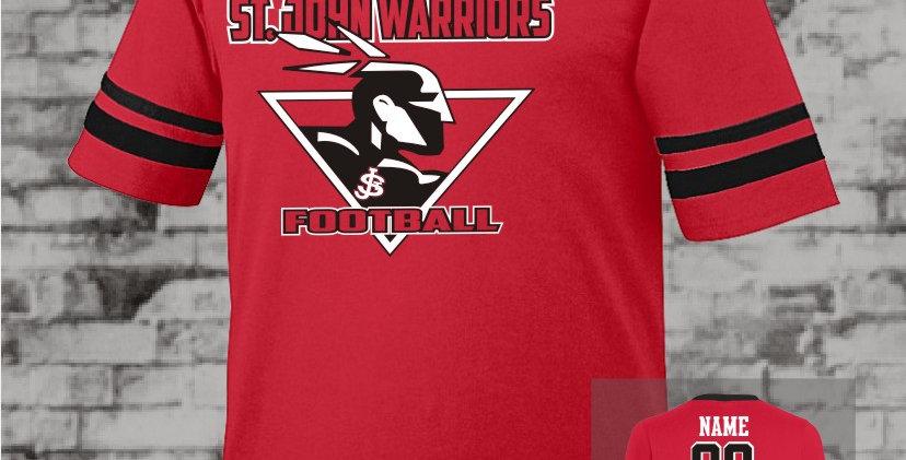 Warriors Red Stripe Sleeve Jersey