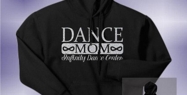 Infinity Dance Mom Glitter Black Hoodie