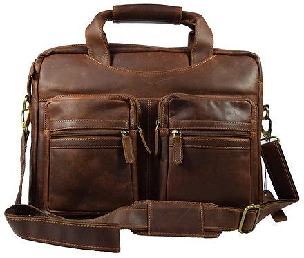 Mark 15,6 Zoll Aktentasche aus Leder Laptoptasche Damen Top-Zip Arbeitstasche