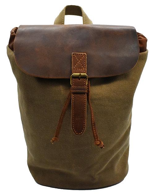 Rucksack Leder mit Canvas Daypack Damen Tagesrucksack Düffel