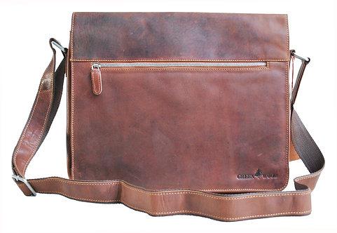 Große Umhängetasche aus echtem Leder mit einer inneren Laptoptasche