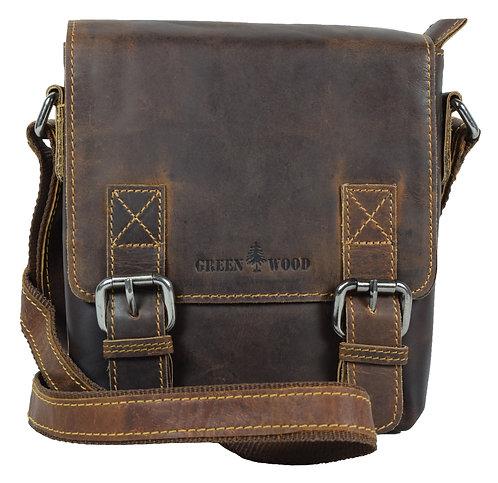 Kleine umhängetasche aus leder für damen, mini schultertasche für herren in braun farbe.