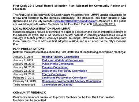City Releases Draft 2019 Local Hazard Mitigation Plan ... 316 pages and utility undergrounding is m