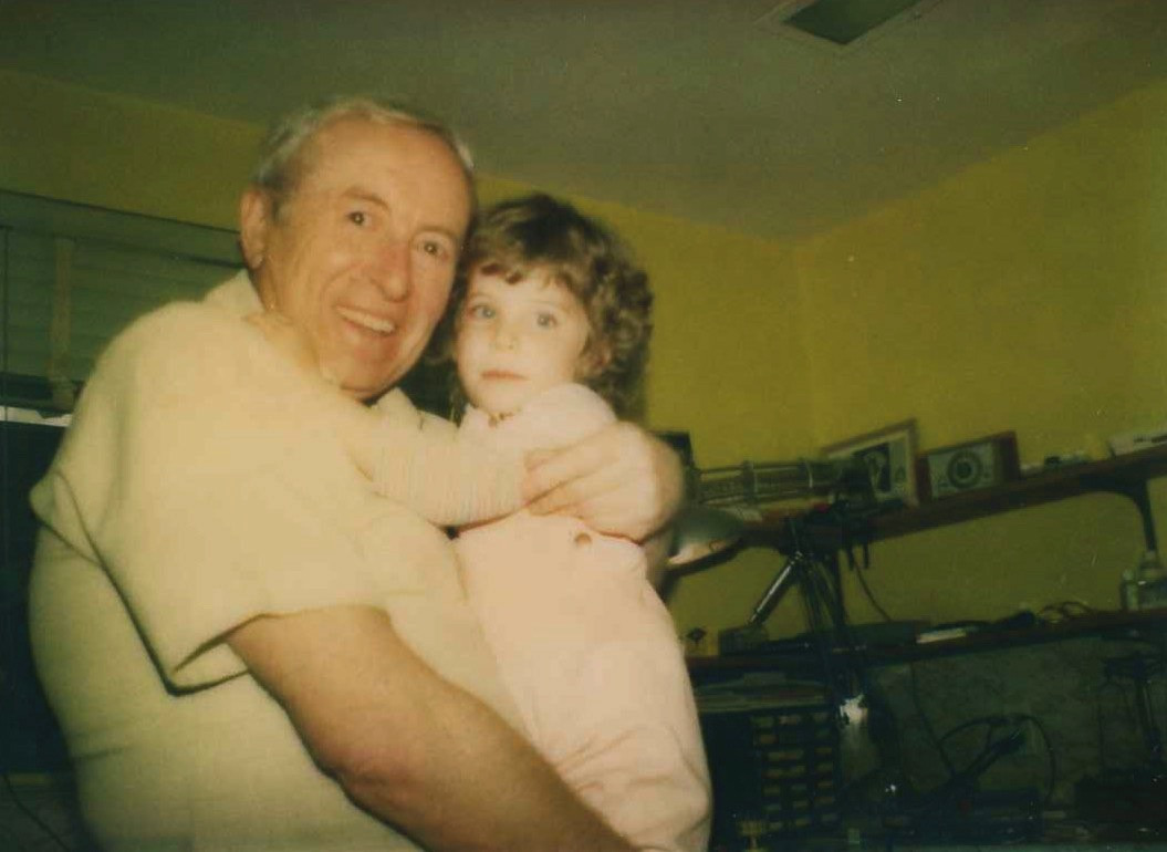 Dr. Heidi and her grandfather, Jacob Birnbaum, in his lab in Newton