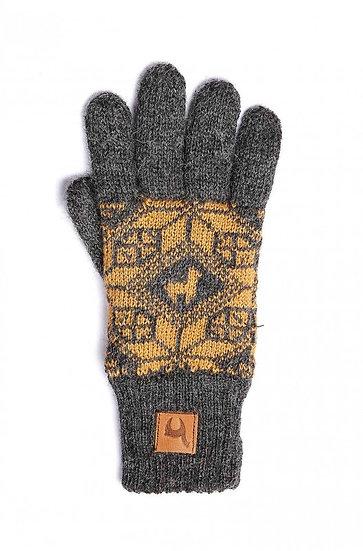 Handschuhe Kinder Anden Fing. grau-gelb 7-9 J.