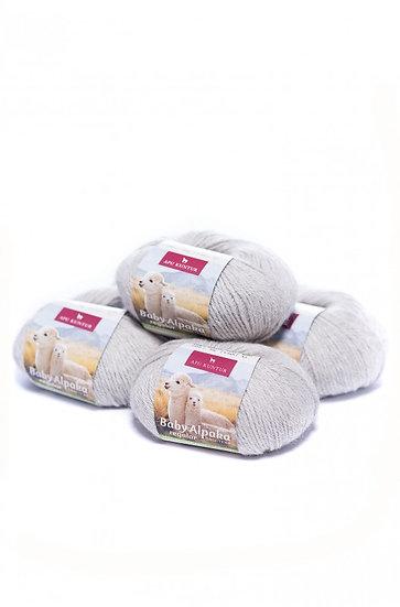 Strickwolle hellgrau 100% Baby Alpaka