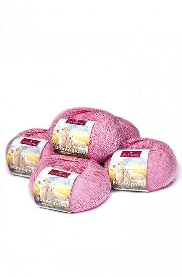 Strickwolle rosa-melange 100% Baby Alpaka
