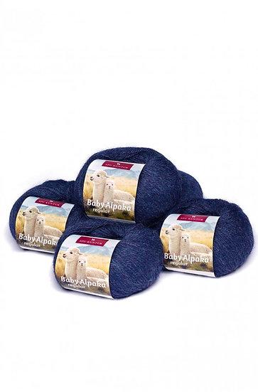 Strickwolle blau-meliert 49 100% Baby Alpaka