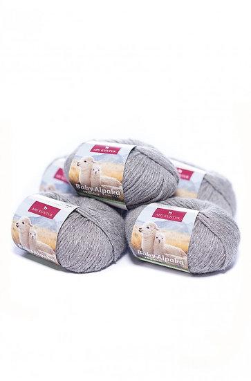 Strickwolle mittelgrau 100% Baby Alpaka