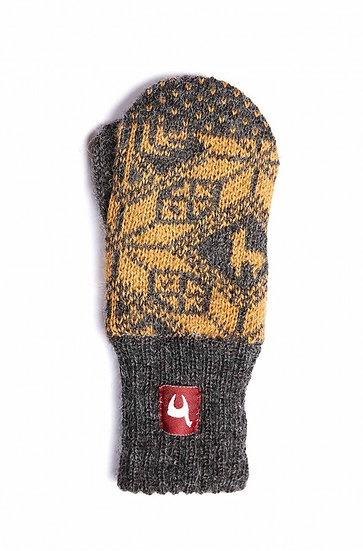 Handschuhe Kinder Anden Faust grau-gelb 1-3 J.