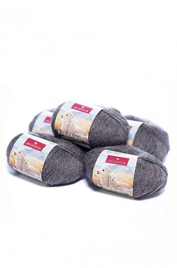 Strickwolle dunkelgrau 100% Baby Alpaka
