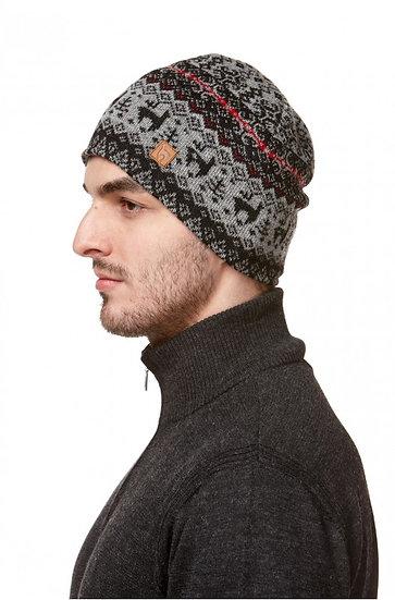 Mütze Anden grau-gemustert