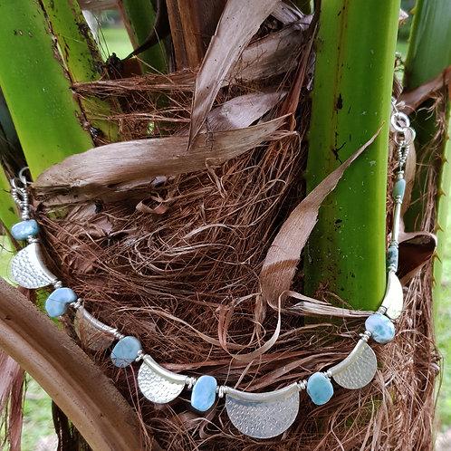 NC25 Half-moon silver and Larimar necklace.