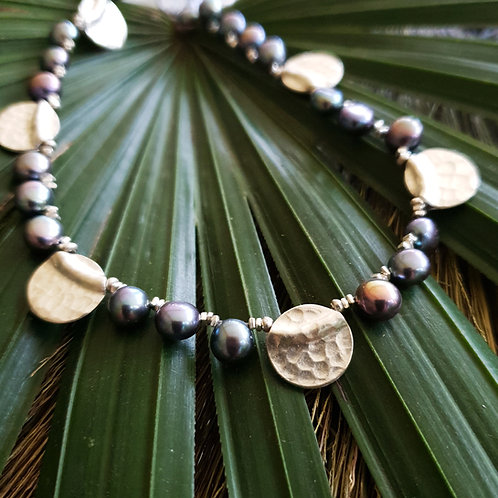 NC24 Hammered silver coin and black pearl necklace