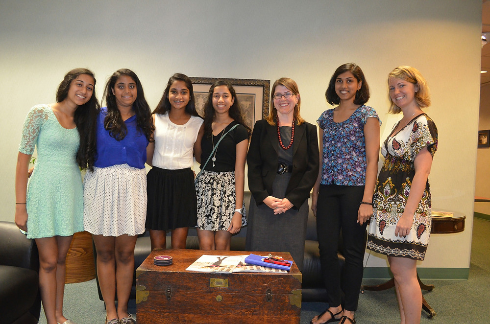 Priya Ramamoorthy, Maanasa Nathan, Smrithi Mahadevan, Kavya Ramamoorthy with members of the technology team at AAUW National Office