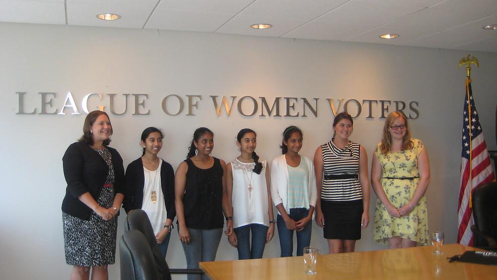 Kavya Ramamoorthy, Maanasa Nathan, Priya Ramamoorthy and Smrithi Mahadevan at the League of Women Voters office in Washington D.C.
