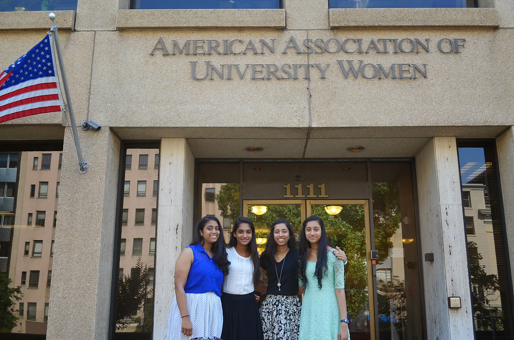 Maanasa Nathan, Smrithi Mahadevan, Kavya Ramamoorthy, Priya Ramamoorthy at the National Office of the American Association of University Women