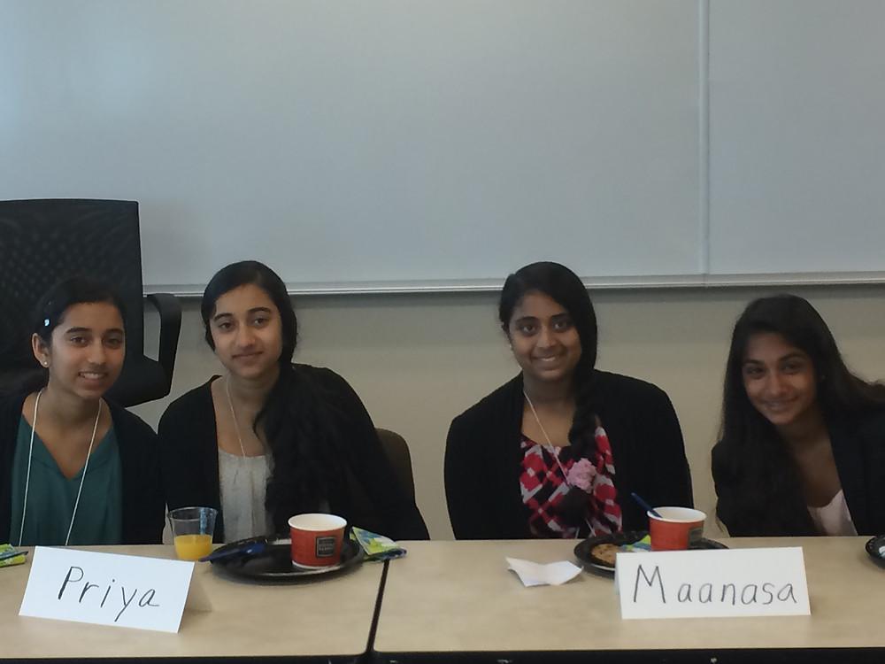 Kavya Ramamoorthy, Priya Ramamoorthy, Maanasa Nathan and Smrithi Mahadevan @ AAUW Austin Branch Meeting