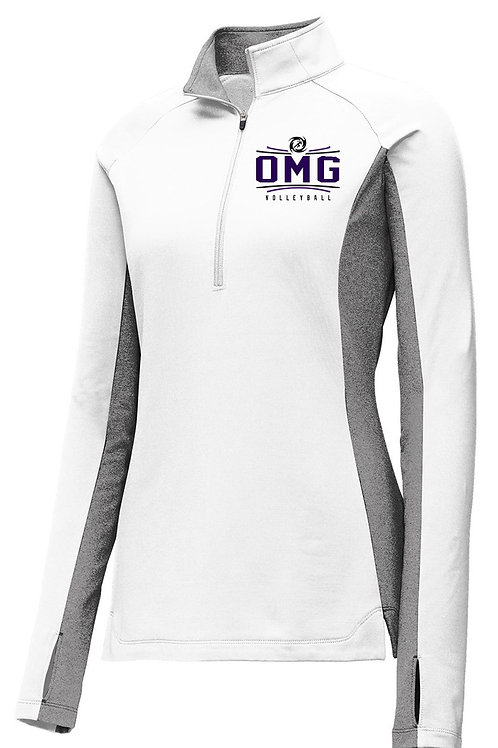 Ladies Sport-Wick Stretch Contrast 1/2-Zip Pullover