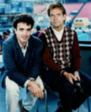 Mike Giunta interviewing Huey Lewis at SuperEX during the Sports Album tour for Videotracks