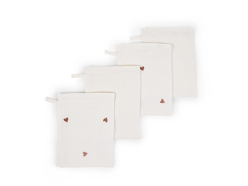 Set van 4 Tetra washandjes Jersey Hearts