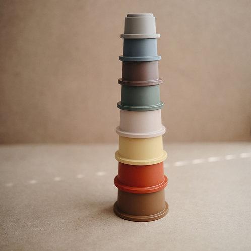 Stapeltoren stacking cups Mushie - retro