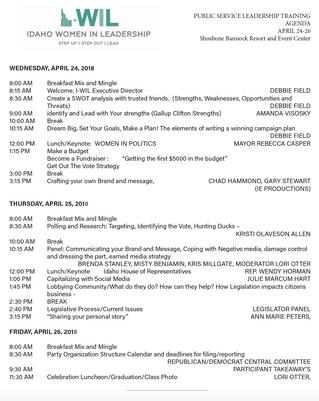 Eastern Idaho Public Leadership     Training Agenda