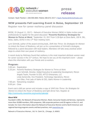 NEW Fall Learning Event Sept 19