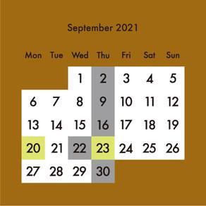 2021年9月の営業予定・予約制