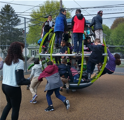 Students at Northend School play on the new playscape equipment installed at Northend in April 2019.  The project was achieved through the collaborative efforts of the Arch Area NRZ, Northend School, Consolidated School District of New Britain, and NHSNB.