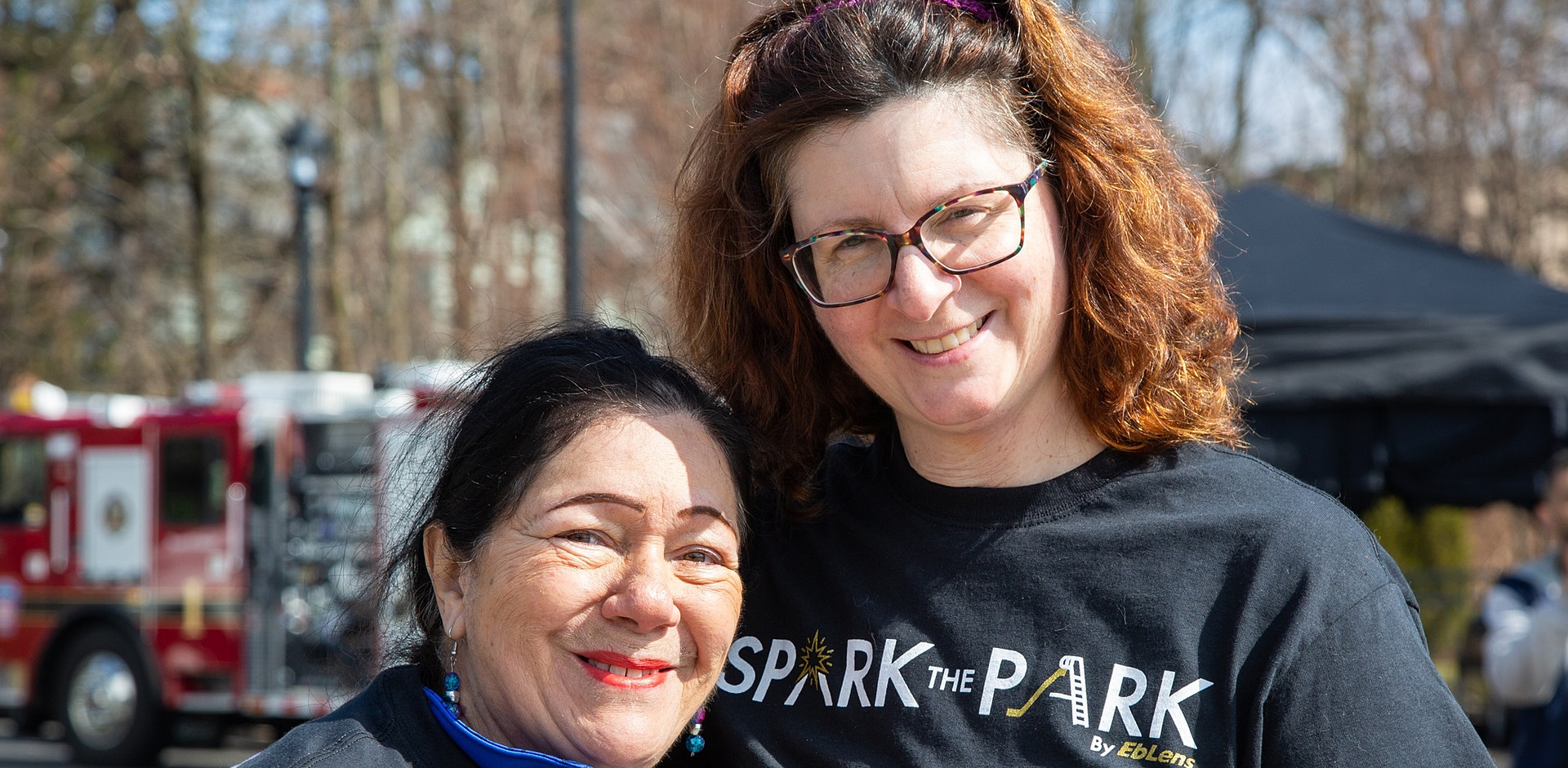 Resident Leaders Vicky Ramos  and Community Building Director Daria Keyes at the April Spark the Park event.