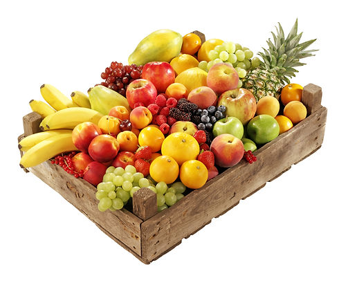 WOODEN BOX FILLED WITH ASSORTED FRESH FR