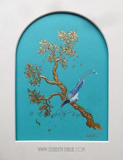 branche d'or à l'oiseau signé.jpg