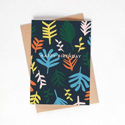 happy birthday card - tropical leaves