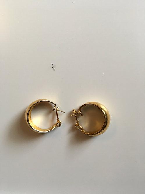 Wide gold toned hoop earrings