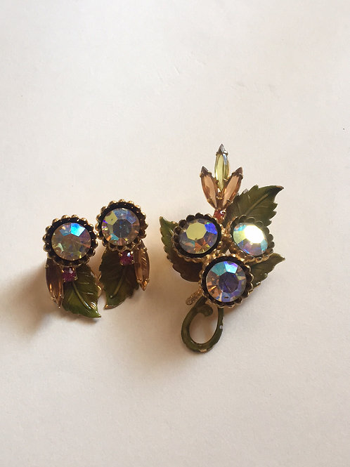 Gold toned leaf pin and clip on earring set
