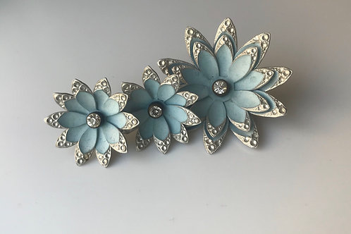 Blue Flower Pin & Clip-On Earring Set