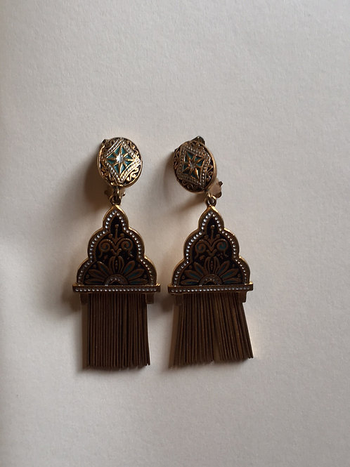 Damascene Clip-on earrings