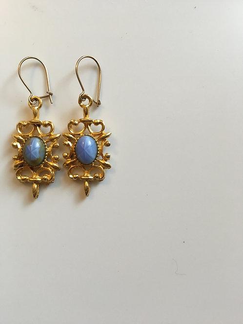 Faux Star Sapphire Earrings
