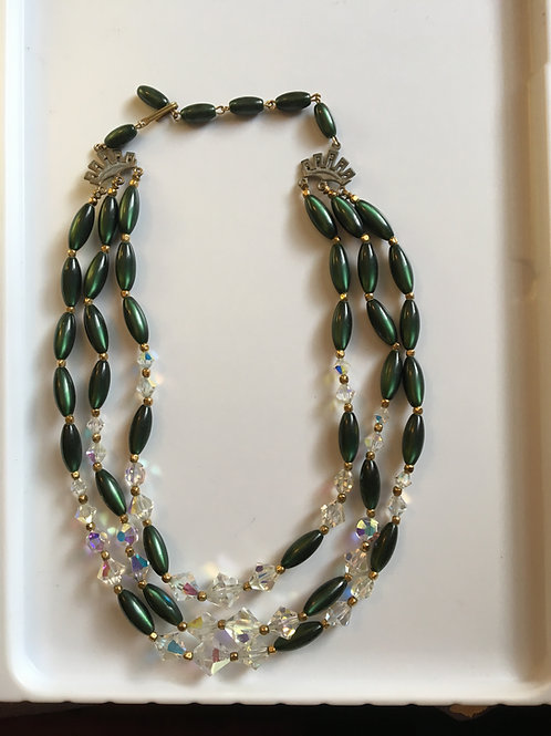 Three layer rhinestone and bead necklace