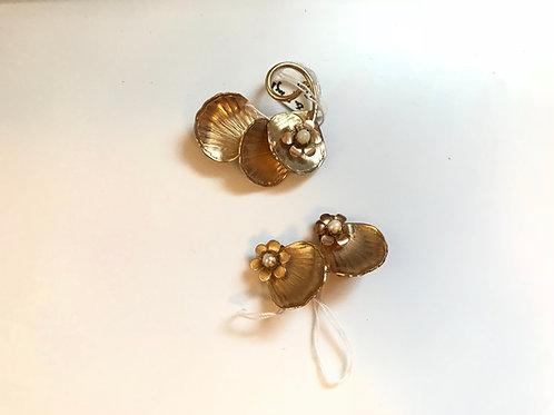 Flower Pin & Earring Set