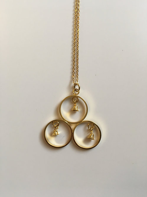 Three bell simple gold toned necklace