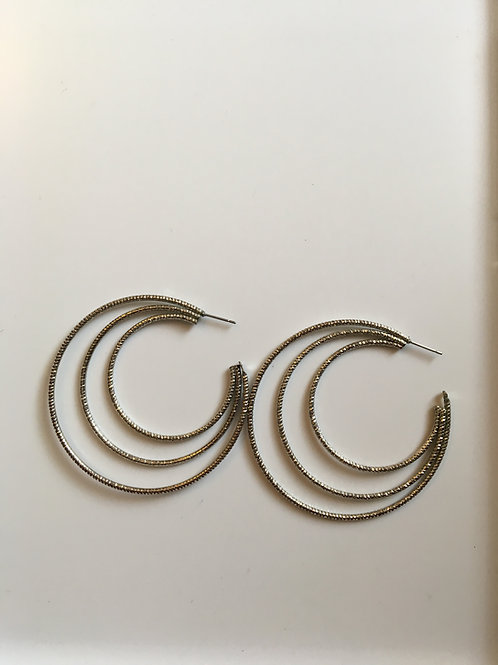 Silver toned multilayered hoops