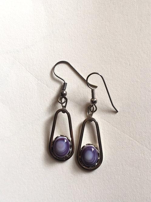 Silver Purple Shell Earrings