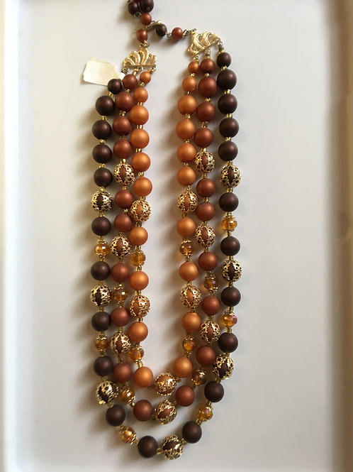 Three Layer red toned beaded necklace