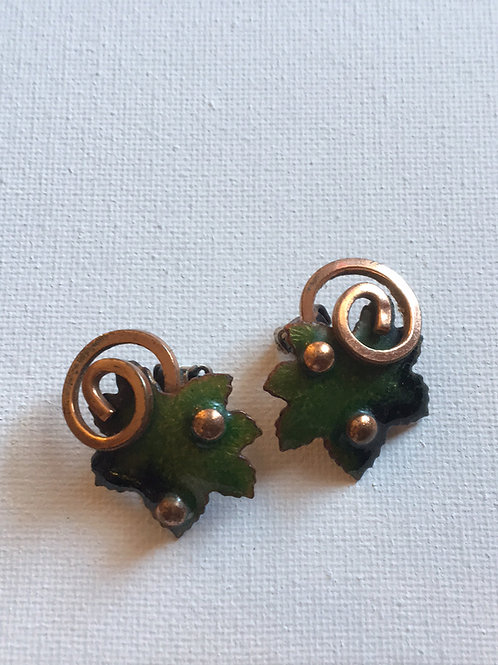 Renoir Copper Leaf clip on earrings