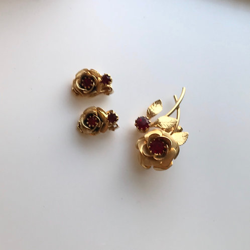 Flower Pin & clip on Earrings