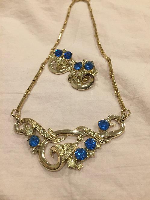 Goldtone Choker rhinestone necklace and earring set