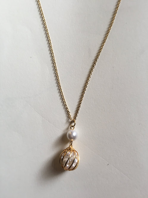 Faux  Caged Pearl Necklace